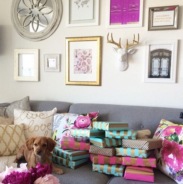 We are loving how @thebunniebar / @oliveandpiper incorporated our mini faux deer head in this beautiful gallery wall! We are dying over all those cute packages & the little puppy, too!