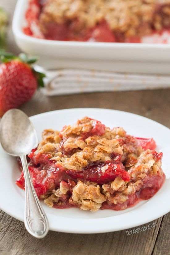 Strawberry Rhubarb Crumble (vegan, gluten-free, dairy-free, 100% whole ...