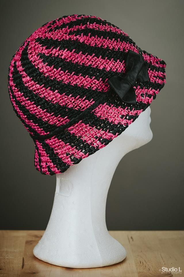 Raffia crochet hat with leather bow