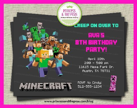 Minecraft Invitation for Girls!