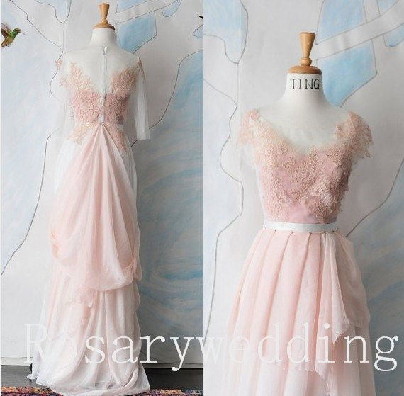 Light pink chiffon lace cap sleeves  by Rosaryweddingdress on Etsy, $299.00