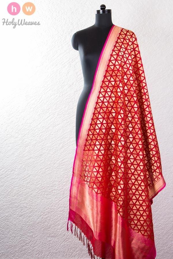 Red Handwoven Katan Georgette Cutwork Brocade Dupatta
