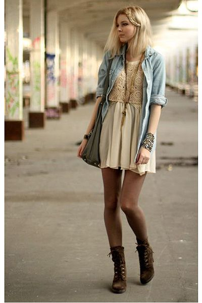 Denim button up, tan dress, sheer brown tights, and brown combat boots