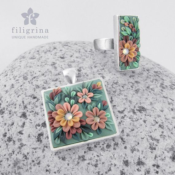 Polymer clay filigree applique technique, handmade jewelry, pendant and ring, green and nude pink and old rose pink, vintage, wedding jewelry, flowers, floral jewelry  Handmade SET of ring and pendant OLD GARDEN with by Filigrina, €43.39