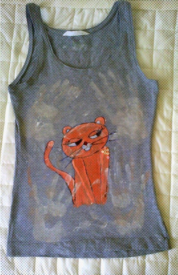 Pink Panther painted on t-shirt