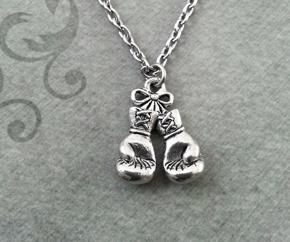 Boxing Gloves Necklace SMALL Boxing Necklace by CharmsOnThings