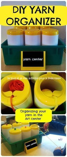"""bonne idée Yarn organizer. Clean, empty """"wipes"""" container or tennis ball canister works too. (Poke a hole in the lid and thread one end of yarn through hole.) Easy to store too!"""