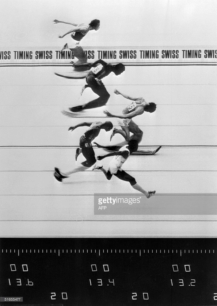 Official photo finish picture shows how close the victory of France's Guy Drut…