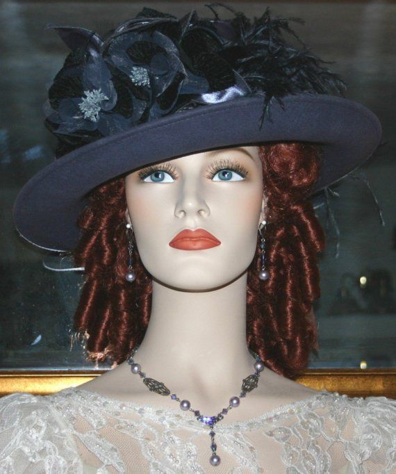 Edwardian Style Hat Titanic Tea Hat Church Hat New Design by Darna Lady Ashcroft Gray Tea Hat