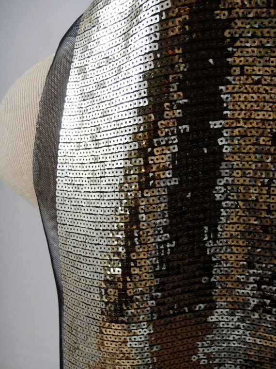 Gold Sequins Black Tulle Gold Fabric Stretch Fabric Gold