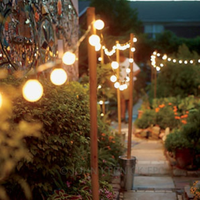 What a simple  inexpensive  and lovely way to light a walk  54 best images about Lighting the Garden on Pinterest   Gardens  . Inexpensive Outdoor Lighting Fixtures. Home Design Ideas