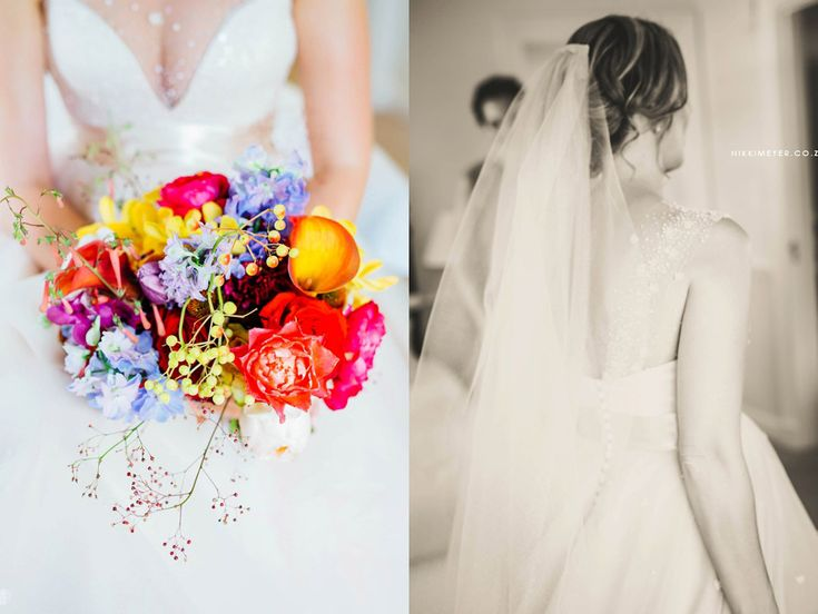 Colourful bridal bouquet by Flowers in the Foyer. Photo by Nikki Meyer