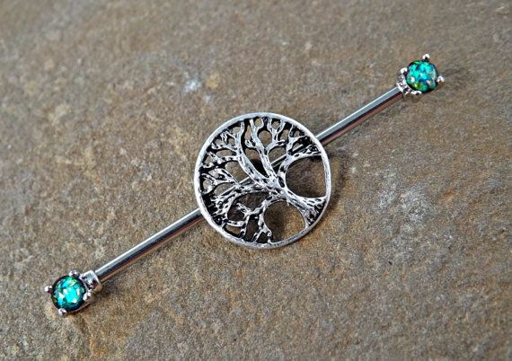 Tree of Life Glitter Opal industriële Barbell door Yourjewelryhut                                                                                                                                                                                 More