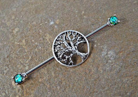 Tree of Life Glitter Opal Industrial Barbell Scaffold Piercing 14ga Body Jewelry…