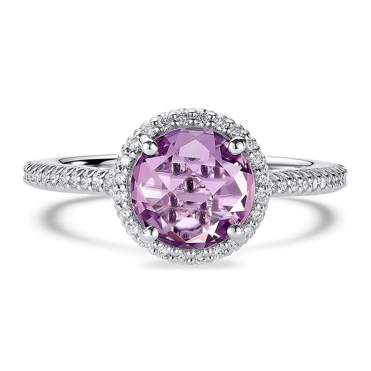*Round amethyst engagement ring with diamond band in 14K white gold, $1,585, [Ritani](https://www.ritani.com/fashion-rings/round-amethyst-diamond-band-engagement-ring-in-14kt-white-gold/20929)*