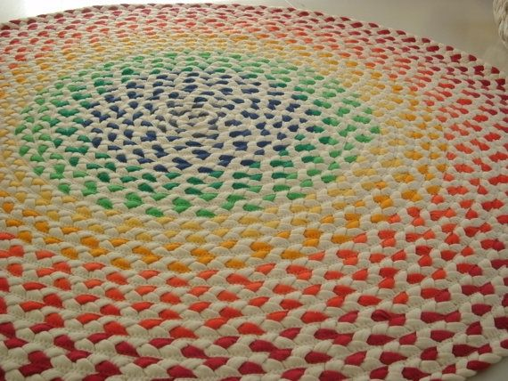 DEPOSIT for Organic rainbow rug braided from USA Organic fabric and some recycled t shirts