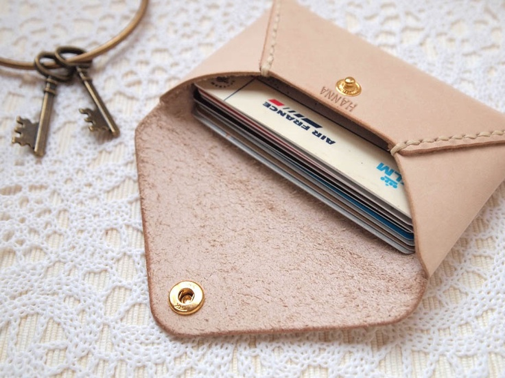 Personalized Envelope Card Holder - Leather - Nude - Hand Stitched, via Etsy. (nude leather, cream)