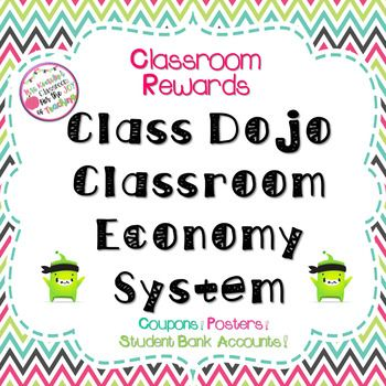 Classroom management system that combines Class Dojo app with an economy classroom system. Product includes: system description, printable classroom posters, printable Class Dojo coupons, list of reward ideas, and printable student bank account sheets.