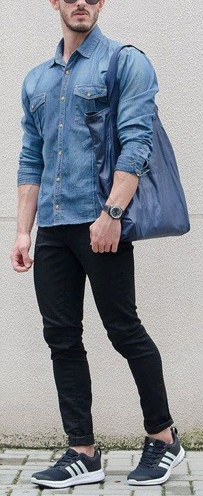Black Denim With Blue Denim shirt paired with Sneakers and tote bag