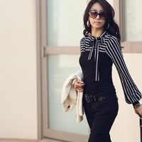 Wish   New Polo Neck Stripes Long Puff Sleeve Cotton Casual Tops Blouses T-Shirt VVF