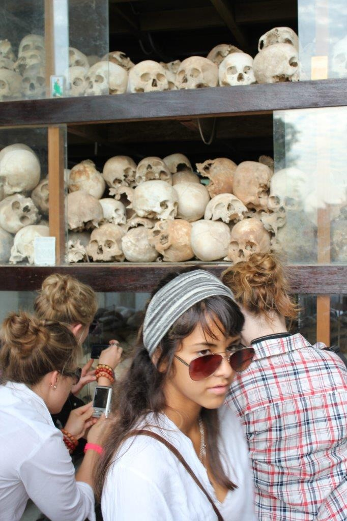 A student group touring the Killing Fields