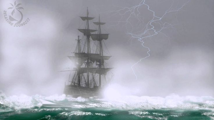 Sailing Ship In Bad Weather Sound - Blizzard , Rough Ocean Waves And Thunderstorm Sounds to relax