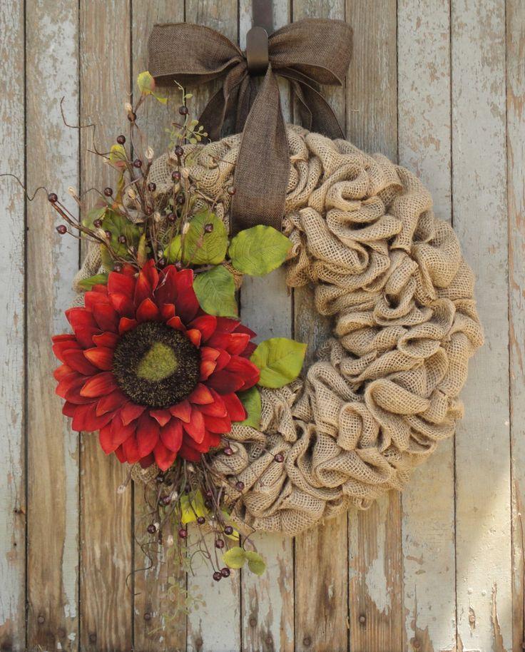 Fall Sunflower Burlap Wreath--Burnt Orange Sunflower Wreath--Autumn Burlap Wreath--Autumn Sunflower Wreath--Sunflower Wreath--Burlap Wreath by WhimsyChicDesigns on Etsy