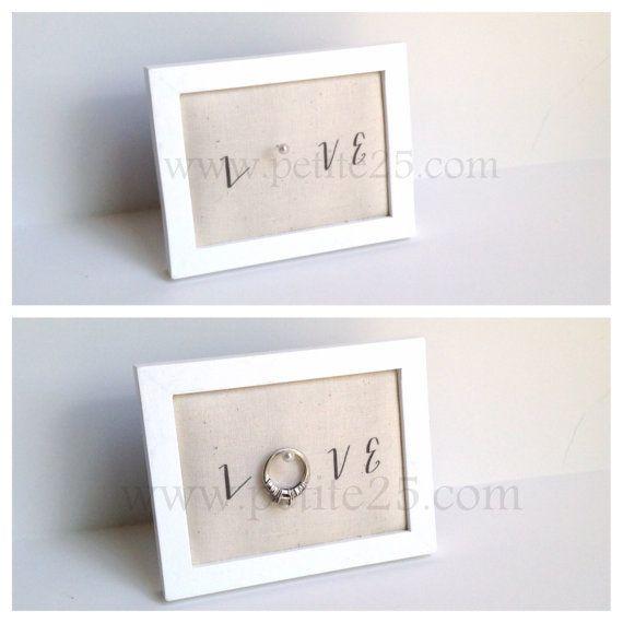 Wedding ring holder rectangle WHITE ring holder: engagement ring holder, bridal shower gift, for her   – Products