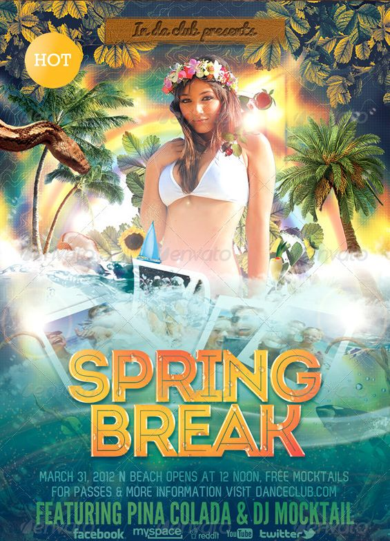 24 best Spring Break Party Flyer Templates images on Pinterest - party flyer