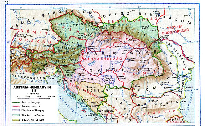Map of Hungary...After the Trianon Treaty, Grandpa's village was given to Czechoslovakia. Today it is in Slovakia, south of Kassa close to the Hungarian border.