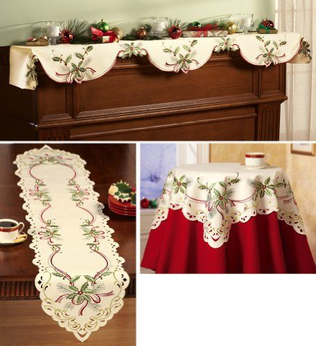 Collections Etc - Holiday Hollyberry Embroidered Table Linens Runner