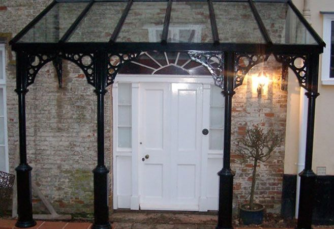 For the front door:  traditional veranda with black frame by nationwide home innovations