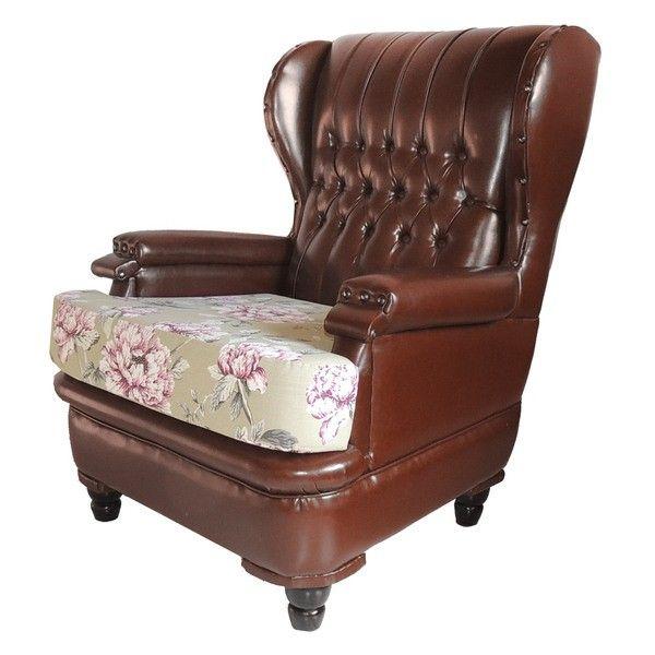 Poltrona capiton marrom e assento estampado estilo for Poltrone berger