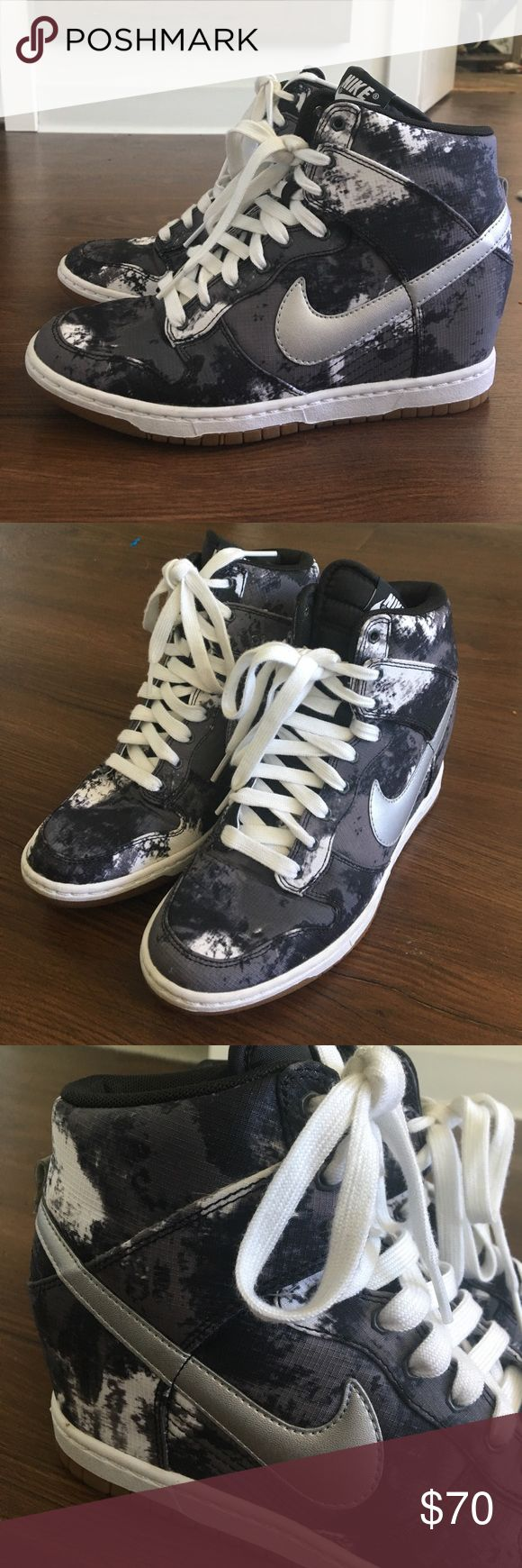 Nike Dunk Ski Hi sneaker wedges worn once Worn one time Nike sky hi sneaker wedges great pattern Nike Shoes Sneakers