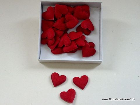 Tischdeko-Streudeko-Hochzeit-Kunstfilz-Herz 3cm, 36 Stück, rot