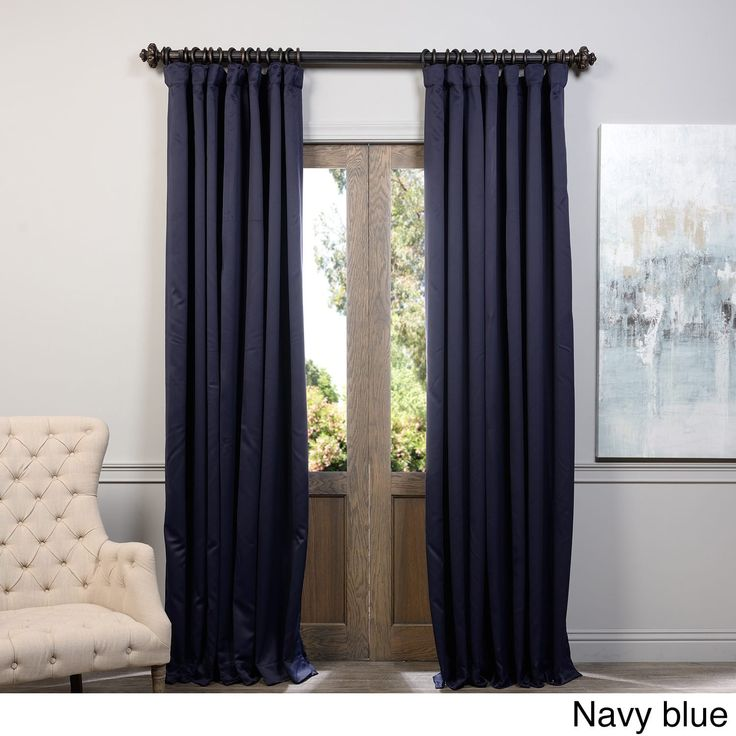 Exclusive Fabrics Extra Wide Thermal Blackout 108-inch Curtain Panel (Navy Blue), Size 100 x 108 (Polyester, Solid)