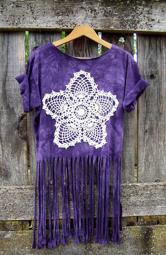 Purple layering tee fringed tank top upcycled wild horses doily mandala T shirt reconstructed fringe shirt crop top cut off shirt