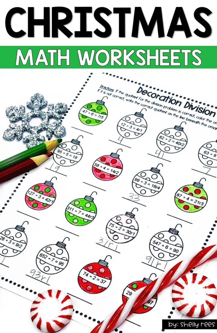 Christmas Math Worksheets And Christmas Math Activities For 4th Grade 5th Grade 6th Grade Students A Christmas Math Worksheets Christmas Math Math Worksheets