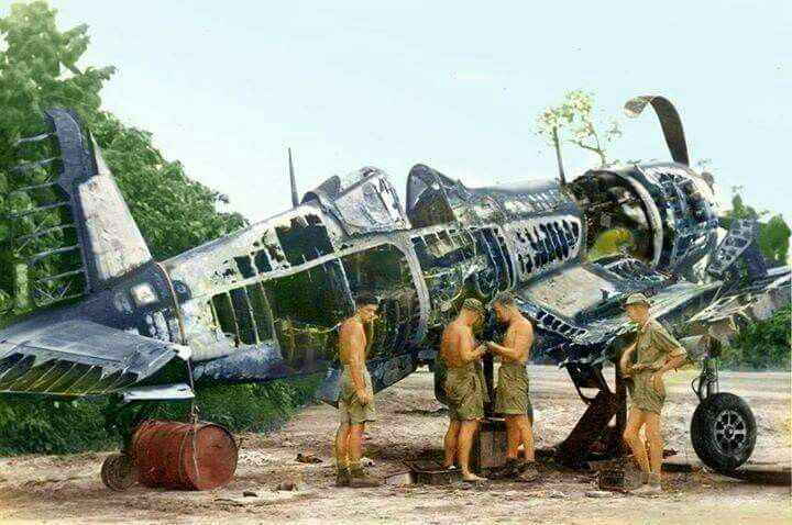 Repairs may be out of the question on this F4U Corsair