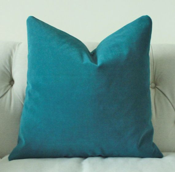 Decorative Teal Blue Pillow - Dark Turquoise Pillow Cover - Peacock Blue Throw Pillow - Velvet Solid Pillow