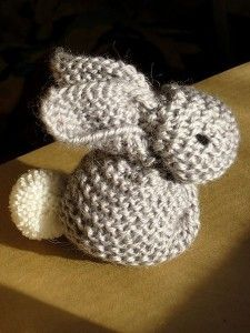 Bunny from a square piece of knit (might work for gauge swatches?)