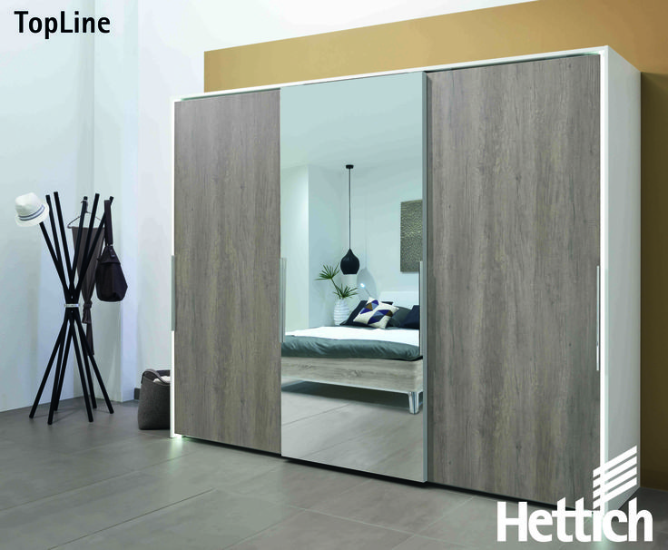 The TopLine sliding door system  range from Hettich can hold from 35 - 65kg. So there is a practical solution for all sliding door designs. Click on the pin for more information & inspiration. #slidingdoors #wardrobedesign