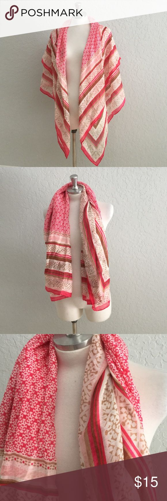NWT Pink & Beige Scarf or Wrap 🆕 NWT Can be used as a Scarf, Wrap or Bathing Suit Cover Up. Beautiful shades of dark and leather get pink with cream. Picture frame pattern. Size is approximate. Code SBC2 Old Navy Accessories Scarves & Wraps