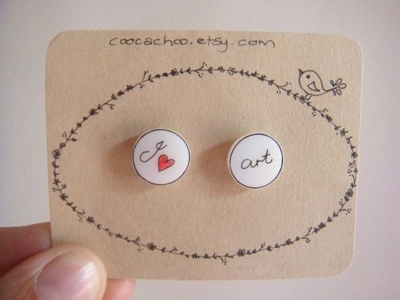 I Heart Art stud earrings by Coocachoo on Etsy, $7.00