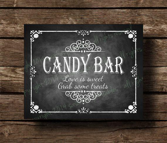 Printable Candy Bar Love Is Sweet Chalkboard Wedding Sign