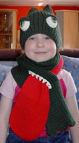 crochet hat and scarf for kids.  Love the tongue through the mouth.  Since I haven't learned to knit or crochet, I'll have to figure out how to make it in fleece. :)