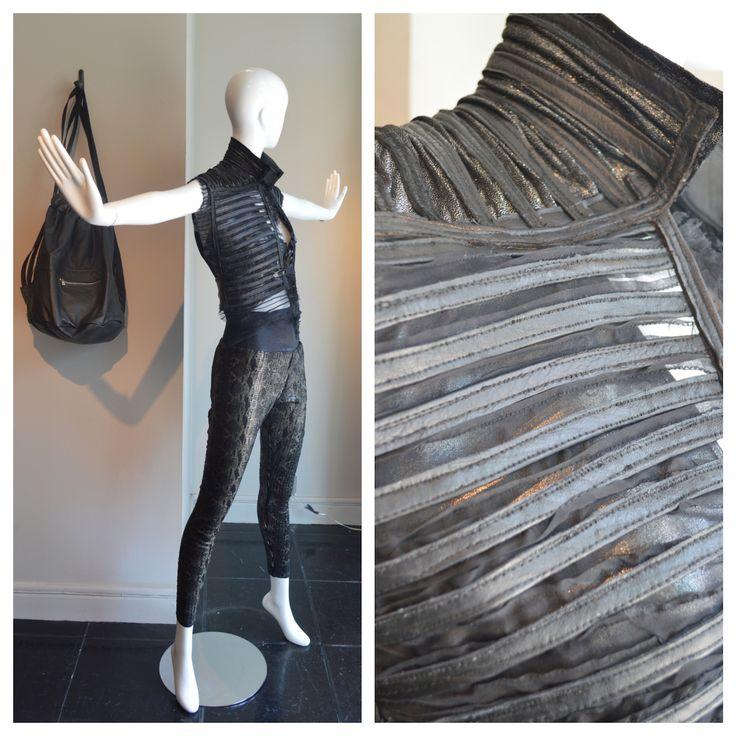 hatch pattern leather vest with silk pants #streetstyle #allblack