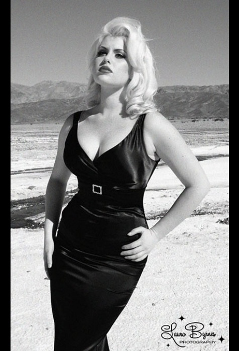 The Jayne Glamour Dress in Solid Black Satin by Pinup Couture