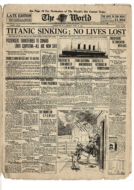 Titanic: The World - April 15, 1912 by Heritage Vancouver, via Flickr