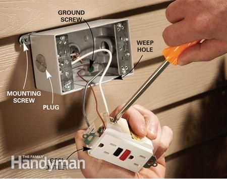Add an outdoor electrical outlet to get power to where you need it   especially for holiday lights  Do it safely and easily with this simple  through the wall  897 best Electrical images on Pinterest   Electrical wiring  . Outdoor Light Pole Electrical Outlet. Home Design Ideas